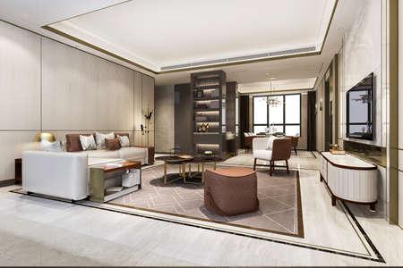 3d rendering loft luxury living room with bookshelf near dining table