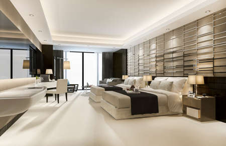 3d rendering luxury classic modern bedroom suite in hotel with king size bed