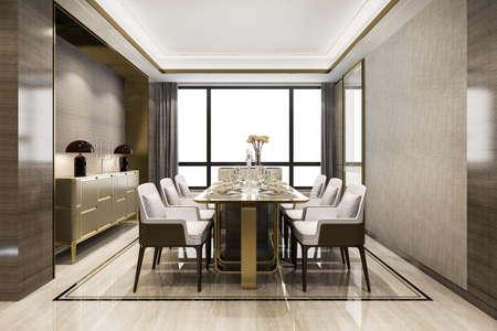 3d rendering dining set in modern luxury dining room