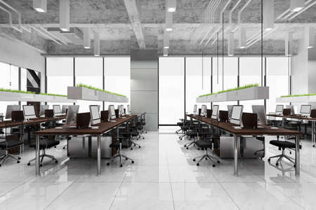 3d rendering business meeting and working room on office building