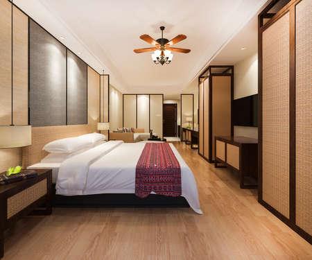 3d rendering luxury tropical bedroom suite in resort hotel
