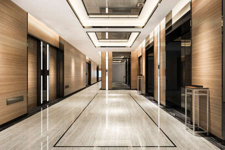 3d rendering  ift lobby in business hotel with luxury design near corridor
