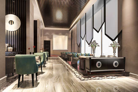 3d rendering luxury hotel reception hall and lobby reception 스톡 콘텐츠