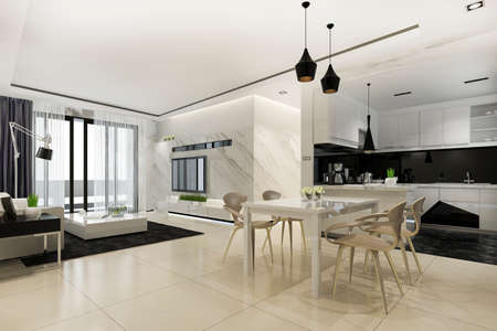 3d rendering scandinavian dining room and kitchen with living room with luxury decor