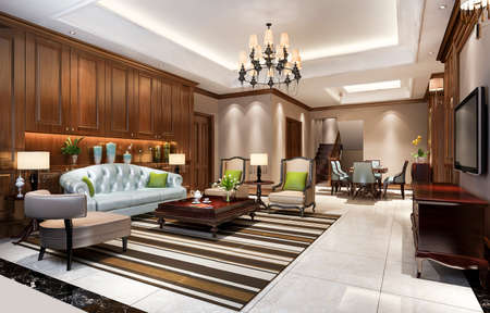 3d rendering classic european dining room and living room with luxury chendelier