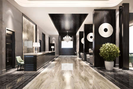 3d rendering modern luxury hotel and office reception and lounge 스톡 콘텐츠