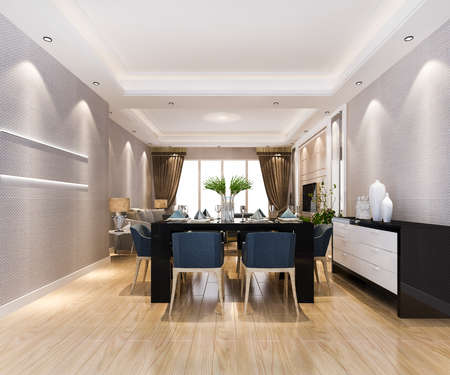 3d rendering modern dining room and living room with luxury decor and leather sofa