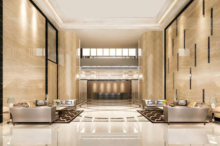 3d rendering grand luxury hotel reception hall entrance and lounge restaurant 스톡 콘텐츠