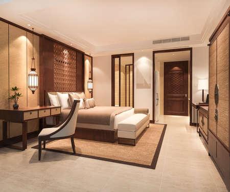 3d rendering luxury tropical bedroom suite in resort hotel with wardrobe