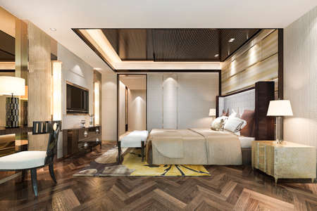 3d rendering beautiful luxury bedroom suite in hotel with working table near bathroom 스톡 콘텐츠