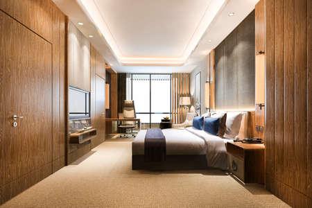 3d rendering luxury classic modern bedroom suite in hotel 스톡 콘텐츠