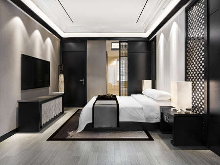 3d rendering luxury modern bedroom suite in hotel with chinese style decor