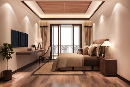 3d rendering beautiful minimal luxury asian bedroom suite in hotel with tv 스톡 콘텐츠