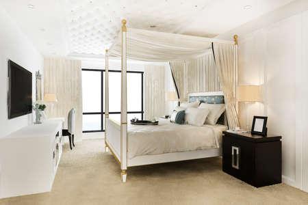 3d rendering luxury vintage bedroom suite in hotel and resort 스톡 콘텐츠