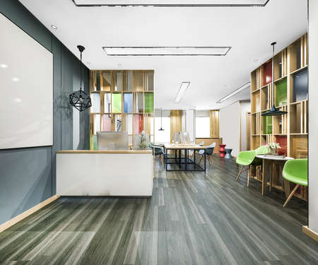 3d rendering modern office reception and library