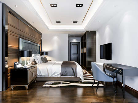 3d rendering luxury bedroom suite in hotel with tv and working table