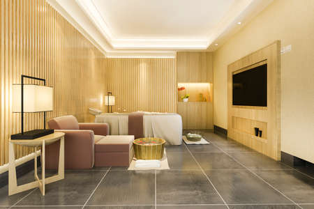 3d rendering spa and massage wellness in hotel suite 스톡 콘텐츠