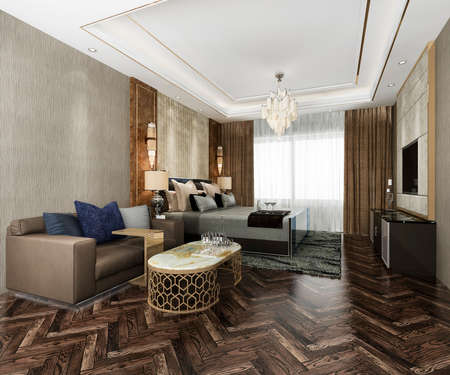 3d rendering luxury bedroom suite in resort high rise hotel with cushion 스톡 콘텐츠