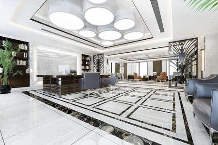 3d rendering luxury business meeting and working room in executive office Zdjęcie Seryjne