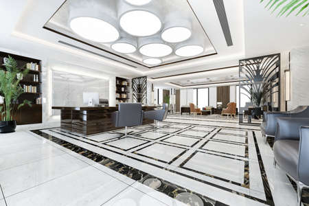 3d rendering luxury business meeting and working room in executive office Reklamní fotografie