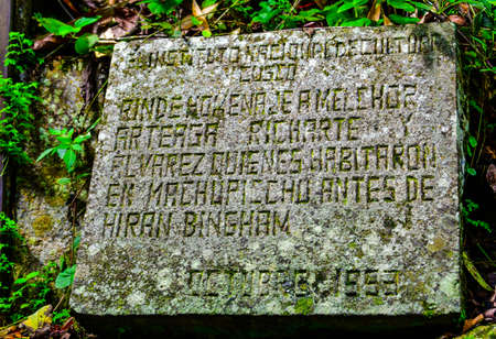 commemorative plaque discovery of Machu Picchu by American archaeologist Hiram Bingham III