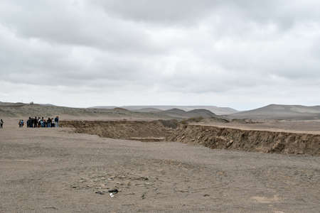 The meeting of the two tectonic plates Nazca and South America in the Peruvian desert. A tectonic plate is a very large piece of the earth's crust, all of which form the Earth's surface.