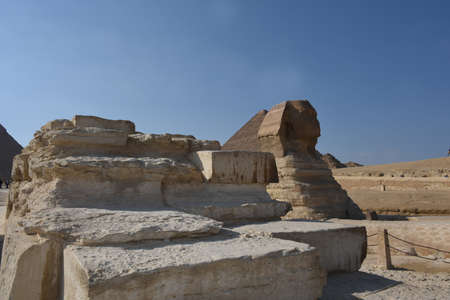 The Great Sphinx of Giza is considered the largest monolithic statue in the world, a hybrid of lion and man, with a height of over 20 meters. The sphinx is made of limestone, around 2500 BC. Stock Photo