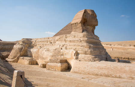 The Great Sphinx of Giza is considered the largest monolithic statue in the world, a hybrid of lion and man, with a height of over 20 meters. The sphinx is made of limestone, around 2500 BC.