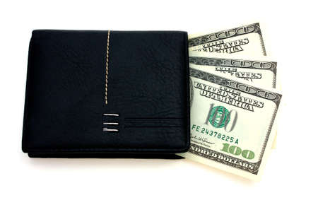 spender: American dollars with black leather wallet  isolated on  on  white Stock Photo