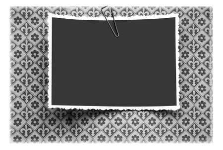 Blank photo frames on the background with the classic pattern photo