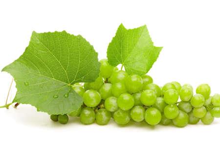 De raisin vert avec des feuilles et des gouttes d'eau closeup isolé sur blanc Banque d'images - 10279714