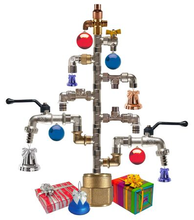 Cristmas tree made from fittings & taps photo