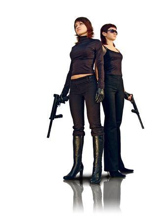 garde corps: Bodyguard filles avec des fusils.  Banque d'images