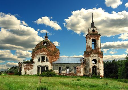 The ruin of orthodox church in central Russia Stock Photo - 2186134
