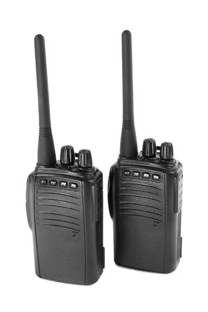 cb phone: Pair of  portable radio sets. Isolated on white.                                Stock Photo
