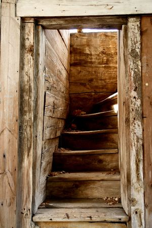 The ruin of orthodox church in central Russia. Stairs of wood.                                    Archivio Fotografico