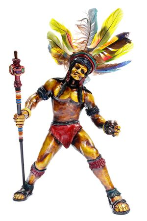 Apache figurine. Isolated on white. photo