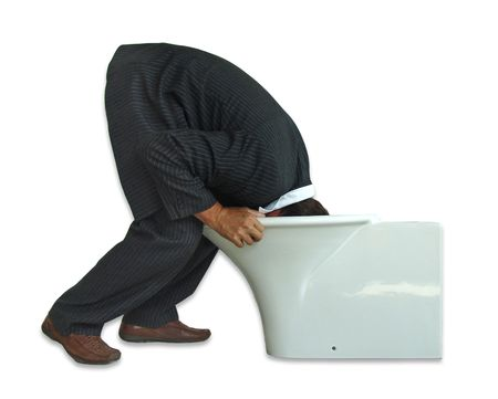 Man is searching something in a lavatory pan. Isolated on white. Stock Photo - 2186223