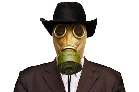 Businessman in gas mask & cowboy hat. Isolated on white.                               photo