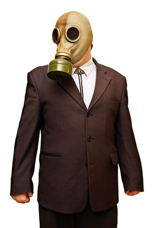 Businessman in gas mask & cowboy hat. Isolated on white.