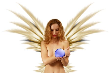 Beautiful naked pixie with the magic sphere. Isolated on white.