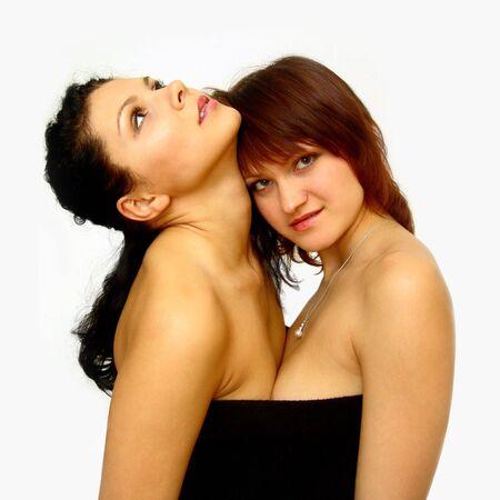jeunes filles nues: Naked filles avec sac jaune. Isol� sur blanc.
