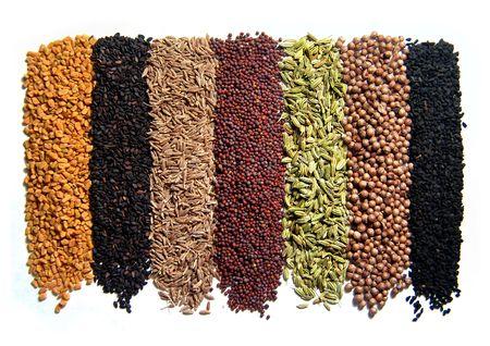 indian spices: Indiase kruiden. 8 st. Geïsoleerd op wit. Uit Zuid-India. Stockfoto