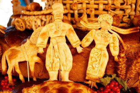 cossack: Dough art. Fragment of big cake. Russian bakery.