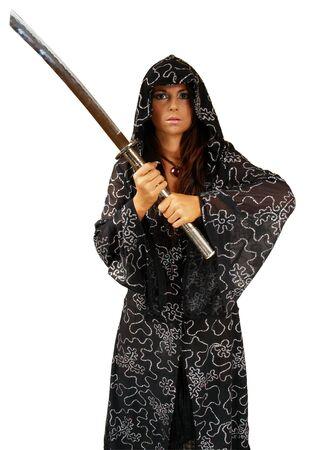 Girl in Kutte mit Schwert. Isoliert auf Weiß  Standard-Bild - 2187159