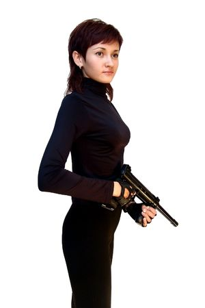 Bodyguard girl. Isolated on white. photo