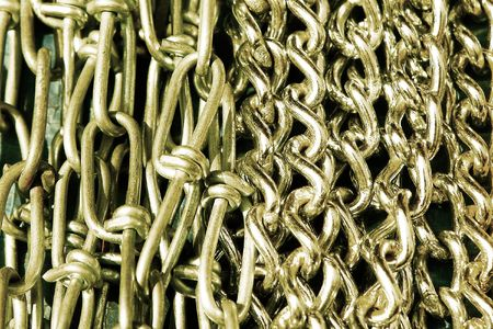 unchain: Variety of steel chains on the market.                                Stock Photo