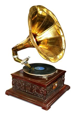 Old wooden gramophone with disc.                                photo
