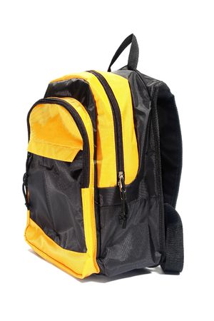 Multicolored backpack. Isolated on white.