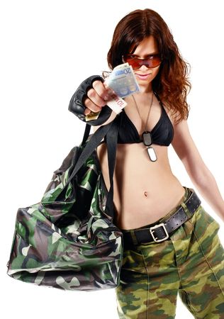 loot: Thief girl in camouflage pants with a big bag full of money. Isolated on white.